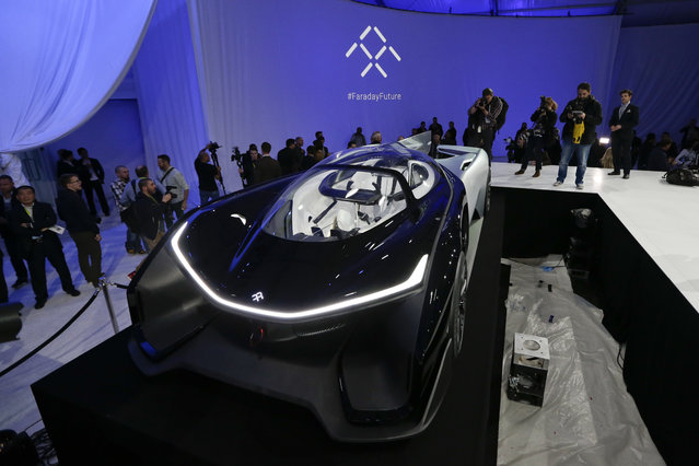 The FFZero1 by Faraday Future is displayed at CES Unveiled, a media preview event for CES International  Monday, January 4, 2016, in Las Vegas. (Photo by Gregory Bull/AP Photo)