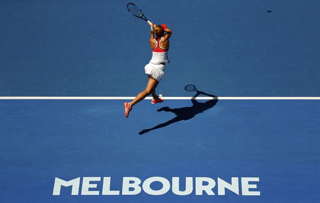 Czech Republic's Lucie Hradecka hits a shot during her first round match against Australia's Daria Gavrilova at the Australian Open tennis tournament at Melbourne Park, Australia, January 18, 2016. (Photo by Thomas Peter/Reuters)