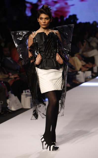 A model presents creations by a Pakistani group of fashion student at Fashion Pakistan Week 2015 , Tuesday, March 31, 2015 in Karachi, Pakistan. (Photo by Shakil Adil/AP Photo)