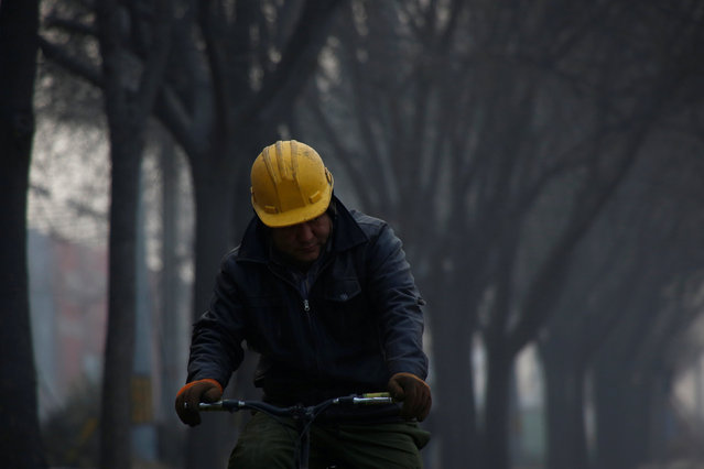 A worker rides a bicycle outside a construction site in Beijing, China, December 31, 2016. (Photo by Thomas Peter/Reuters)