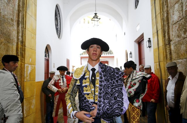 Spanish matador Esau Fernandez waits before the start of a bullfight at The Maestranza bullring in the Andalusian capital of Seville, southern Spain April 15, 2015. (Photo by Marcelo del Pozo/Reuters)