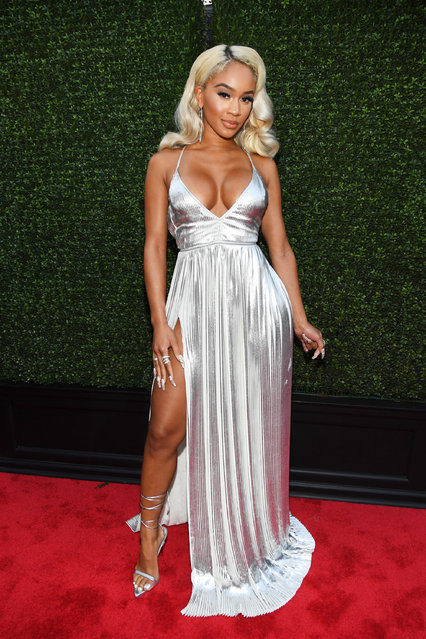 American rapper Saweetie attends the 2021 MTV Video Music Awards at Barclays Center on September 12, 2021 in the Brooklyn borough of New York City. (Photo by Kevin Mazur/MTV VMAs 2021/Getty Images for MTV/ViacomCBS)