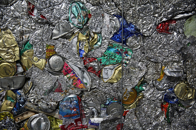Recycled cans and other aluminum products are viewed at the Sims Municipal Recycling Facility, an 11-acre recycling center on the Brooklyn waterfront on April 22, 2015 in New York City. Approximately 19,000 tons of metal, glass and plastic are collected monthly by the Department of Sanitation in New York City. In an Earth Day announcement, New York City mayor Bill de Blasio said that by 2030 New York won't send any of its garbage to out-of-state landfills. The mayor said that instead city garbage will be recycled, composted, or eliminated from the waste stream altogether. (Photo by Spencer Platt/Getty Images)