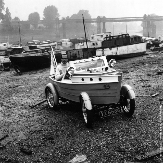 1959: Clive Talbot Of Chiswick, London, in his car built with the body of a boat