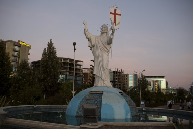 A statue of Jesus Christ stands outside the Medhane Alem Cathedral in Addis Ababa, Ethiopia, May 17, 2015. (Photo by Siegfried Modola/Reuters)