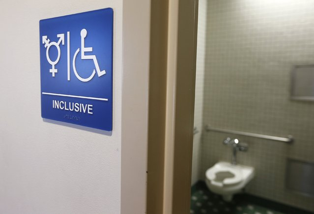 A gender-neutral bathroom is seen at the University of California, Irvine in Irvine, California September 30, 2014.  A U.S. appeals court on Tuesday ruled for a Virginia transgender student seeking access to the bathroom of his gender identity. (Photo by Lucy Nicholson/Reuters)