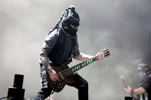 """The metal band """"Hamatom"""" play at the world's largest heavy metal festival, the Wacken Open Air 2019, in Wacken, Germany on August 3, 2019. (Photo by Alamy Live News)"""
