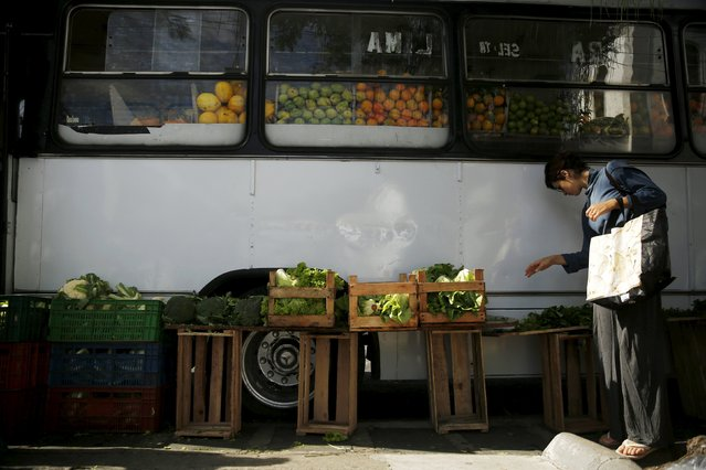 A woman looks for vegetables outside a bus called Sacolao in Santa Teresa neighborhood in Rio de Janeiro, Brazil, July 7, 2015. (Photo by Pilar Olivares/Reuters)