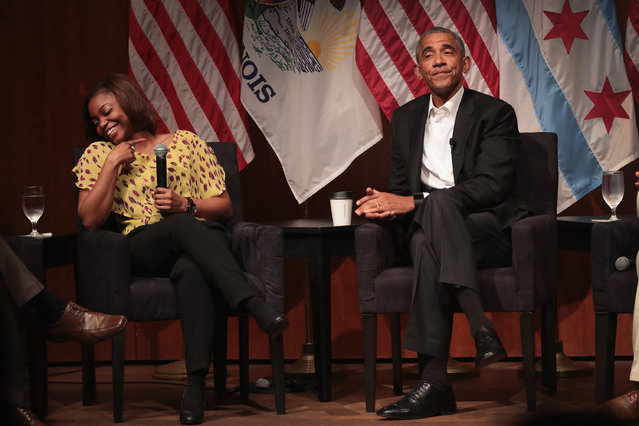 Dr Tiffany Brown laughs as she relates her first experience meeting former U.S. President Barack Obama during a forum at the University of Chicago held to promote community organizing on April 24, 2017 in Chicago, Illinois. The visit marks Obama's first formal public appearance since leaving office. (Photo by Scott Olson/Getty Images)