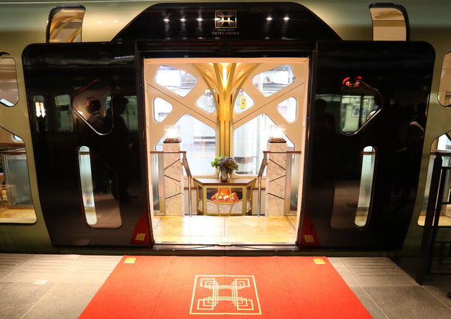 This picture taken on March 16, 2017 shows an entrance of the Train Suite Shiki- Shima, operated by East Japan Railway, in Tokyo during a press preview. (Photo by AFP Photo/JIJI Press)