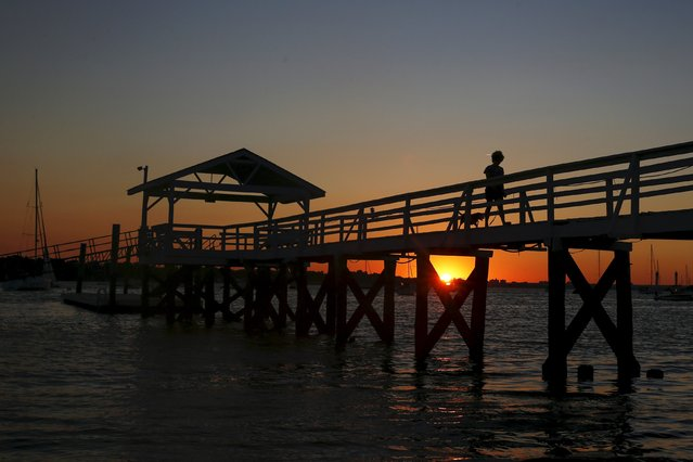 A woman is seen silhouetted while walking a dog at sunset on Manhasset Bay in Port Washington, New York August 5, 2015. (Photo by Shannon Stapleton/Reuters)