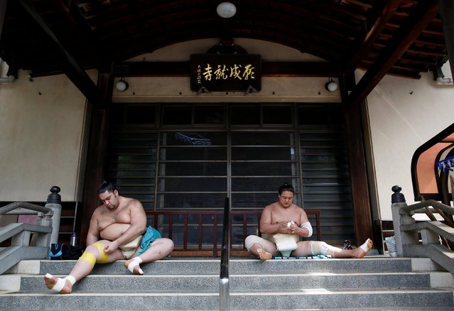 Brazilian-born sumo wrestler Kaisei (L), and Mongolian-born sumo wrestler Kyokushuho tape up during a training session in Nagoya, Japan on July 18, 2017. Entering the world of sumo is to eat, live, and breathe Japanese – from the samurai-style topknots to the rigid hierarchy. (Photo by Issei Kato/Reuters)