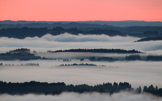 Morning fog covers the valleys near Bernbeuren, southern Germany, at sunrise early Thursday June 26, 2014. (Photo by Karl-Josef Hildenbrand/AP Photo/DPA)