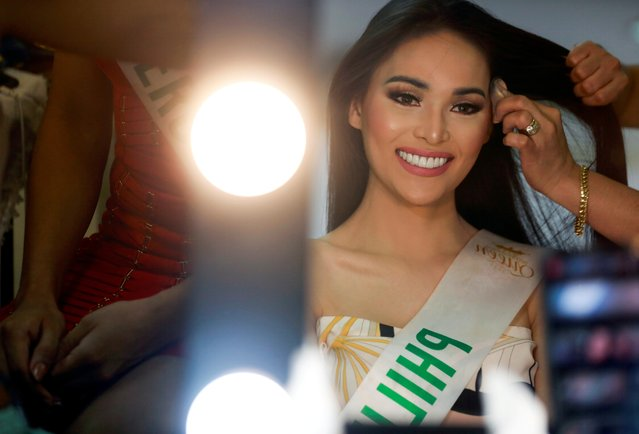 Jess Labares of Philippines gets ready for the final show of the Miss International Queen 2020 transgender beauty pageant in Pattaya, Thailand on March 7, 2020. (Photo by Soe Zeya Tun/Reuters)