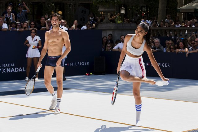 Models play tennis during an event to promote the launch of Tommy Hilfiger's new line of underwear, in New York August 25, 2015. (Photo by Lucas Jackson/Reuters)
