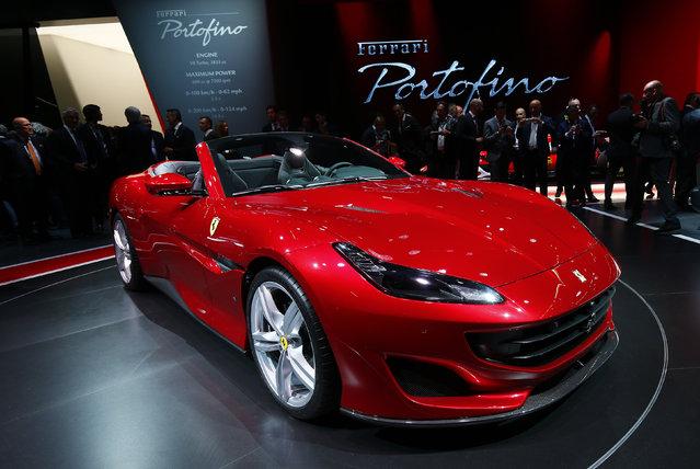 New Ferrari Portofino is displayed during the Frankfurt Motor Show (IAA) in Frankfurt, Germany September 11, 2017. (Photo by Ralph Orlowski/Reuters)