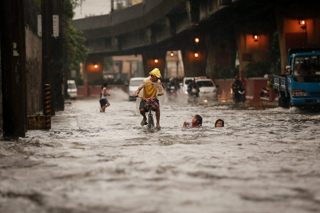 A Filipino on a bike passes by children frolicking along a flooded street in Manila, Philippines, 13 August 2016. Heavy rains brought by the southwest monsoon have resulted in floods across Manila, suspending classes and causing traffic disruptions. Residents in low lying areas have been warned for possible flash floods, reports said. (Photo by Mark R. Cristino/EPA)