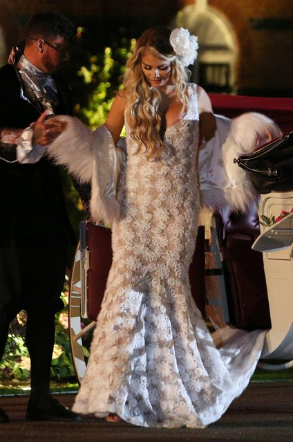 """Chloe Sims attends """"The Ony Way Is Essex"""" season finale filming in Wintney, Hook, England on October 29, 2017. (Photo by Beretta/Sims/Rex Features/Shutterstock)"""