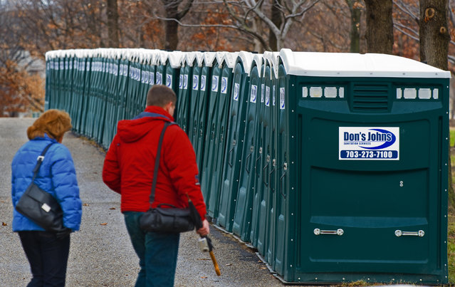 Rows and rows of portable toilets are stacked around the US Capitol and the National Mall on January 11, 2009, set up for the January 20, 2009 inauguration of the US president-elect Barack Obama. Reports say 5,000 portable toliets have been ordered, but not enough for the millions of people expected to attend. (Photo by Paul J. Richards/AFP Photo)
