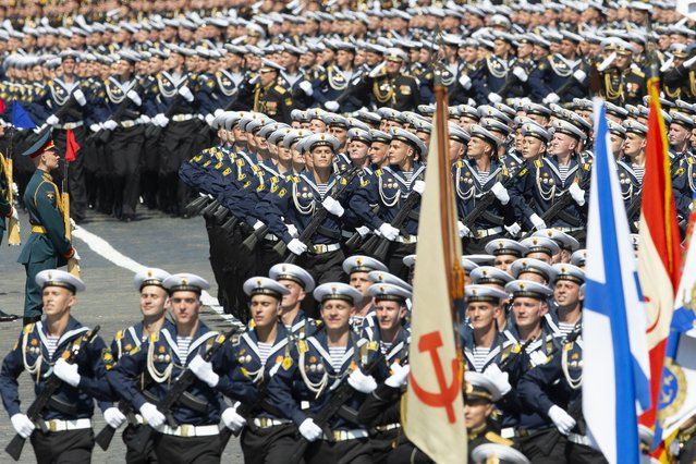 Russian sailors march in Red Square during the Victory Day military parade marking the 75th anniversary of the Nazi defeat in WWII in Moscow, Russia, Wednesday, June 24, 2020. (Photo by Alexander Zemlianichenko/AP Photo)