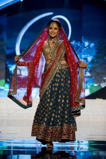 Miss India 2012, Shilpa Singh, performs onstage at the 2012 Miss Universe National Costume Show on Friday, December 14, 2012 at PH Live in Las Vegas, Nevada. The 89 Miss Universe Contestants will compete for the Diamond Nexus Crown on December 19, 2012. (Photo by AP Photo/Miss Universe Organization L.P., LLLP)