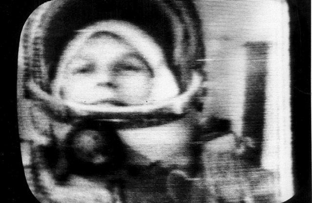 26-year-old Valentina Tereshkova, who became the first woman to travel in space, as seen in a television transmission from her spacecraft, Vostok 6, on June 16, 1963. (Photo by AP Photo/TASS)