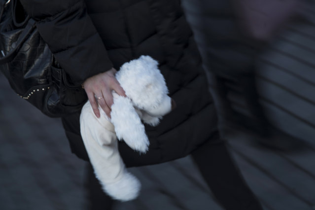 A woman carries a teddy bear to commemorate the victims of a fire in a shopping mall in the Siberian city of Kemerovo in a day of mourning, in Manezhnaya square, near the Kremlin in Moscow, Russia, Wednesday, March 28, 2018. (Photo by Pavel Golovkin/AP Photo)