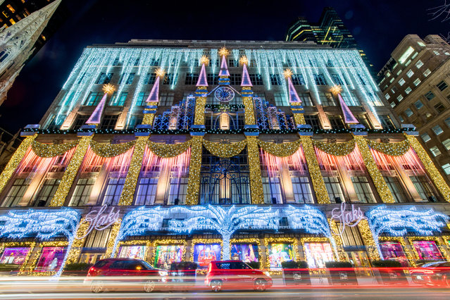 Saks Fifth Avenue has an elaborate light display with music on on December 01, 2020 in New York City. Many holiday events have been canceled or adjusted with additional safety measures due to the ongoing coronavirus (COVID-19) pandemic. (Photo by Roy Rochlin/Getty Images)