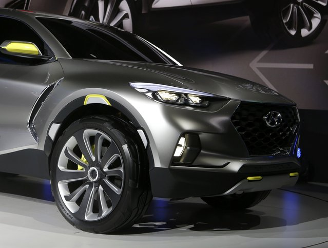 Front end detail of the Hyundai Santa Cruz crossover concept truck as it is displayed during the first press preview day of the North American International Auto Show in Detroit, Michigan January 12, 2015. (Photo by Rebecca Cook/Reuters)
