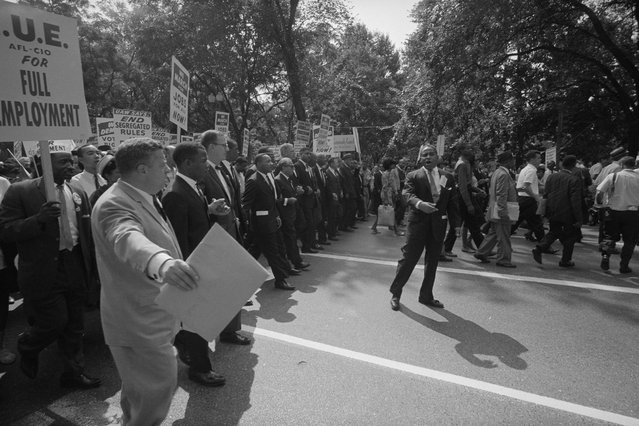 Martin Luther King with other civil rights leaders leaders during the civil rights march on Washington D.C., August 28, 1963. (Photo by Reuters/Library of Congress)