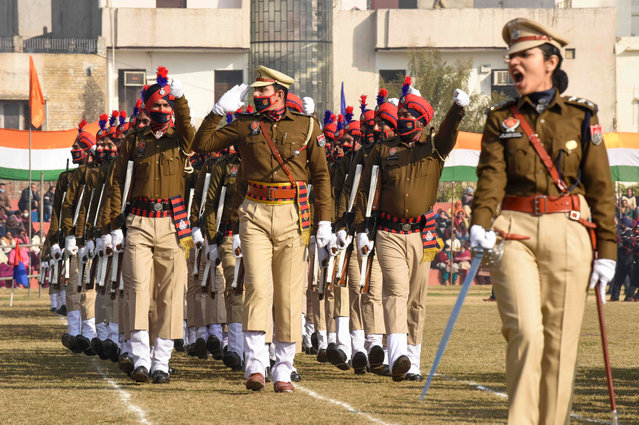 Police personnel march during the Republic Day Parade in Amritsar on January 26, 2021. (Photo by Narinder Nanu/AFP Photo)