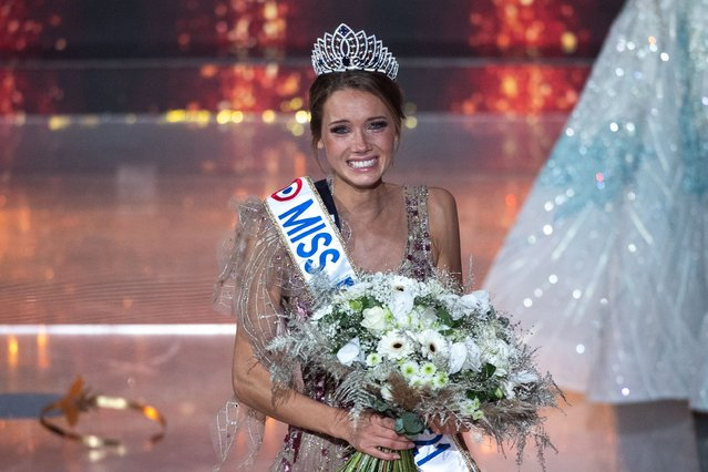 Newly elected Miss France 2021 Miss Normandie Amandine Petit reacts as she is elected Miss France 2021 at the end of the Miss France 2021 beauty contest at the Puy-du-Fou, in Les Epesses, western France, on December 20, 2020. (Photo by Loic Venance/AFP Photo)