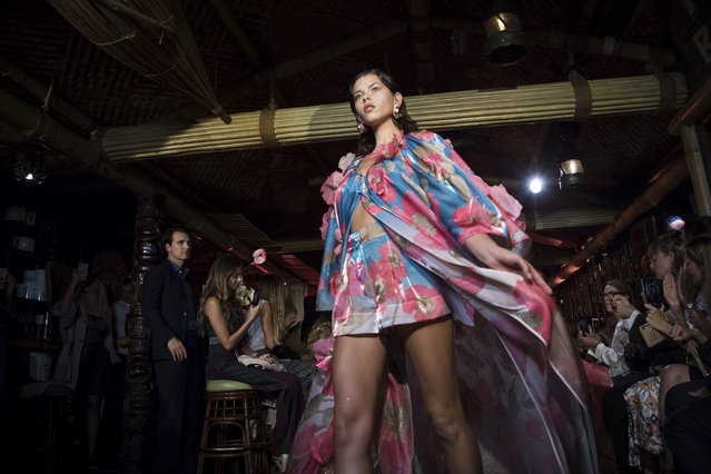 Model Georgia Fowler wears a creation by Peter Pilotto during their Spring/Summer 2019 runway show at London Fashion Week in London, Sunday, September 16, 2018. (Photo by Vianney Le Caer/Invision/AP Photo)