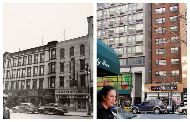 "This combination shows the 1942 photo ""Street scene, Yorkville Neighborhood"" by Weegee, provided by the International Center of Photography in New York and East 86th St. on Monday, March 23, 2015. (Photo by AP Photo/Copyright Weegee/The International Center of Photography, Mark Lennihan)"