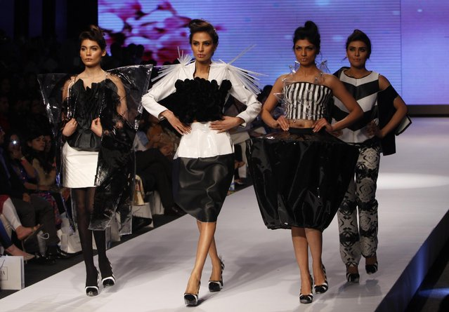 Models present creations by a group of Pakistani fashion students at Fashion Pakistan Week 2015 , Tuesday, March 31, 2015 in Karachi, Pakistan. (Photo by Shakil Adil/AP Photo)