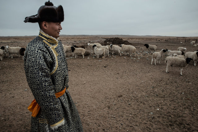 Chingele, a herder, wears a traditional Mongol costume to greet a neighbor for the New Year. Chingele was among a group of herders who went to Beijing to protest eviction from grazing lands to make room for an army training camp. (Photo by Gilles Sabrie/The Washington Post)