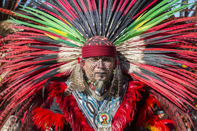Juan Carlos, a member of the Aztec Indian tribe attends Women's March San Diego on January 19, 2019 in San Diego, California. (Photo by Daniel Knighton/Getty Images)