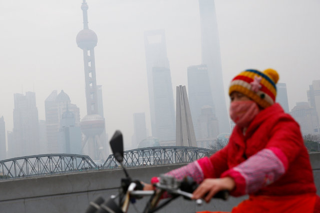 A woman wears a mask as she rides near the Bund during a polluted day in Shanghai, China, January 2, 2017. (Photo by Aly Song/Reuters)
