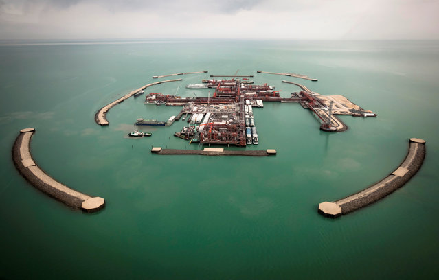 The aerial view shows artificial islands on Kashagan offshore oil field in the Caspian sea, western Kazakhstan, April 7, 2013. (Photo by Anatoly Ustinenko/Reuters)