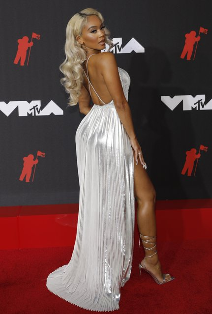 Saweetie attends the 2021 MTV Video Music Awards at Barclays Center on September 12, 2021 in the Brooklyn borough of New York City. (Photo by Andrew Kelly/Reuters)