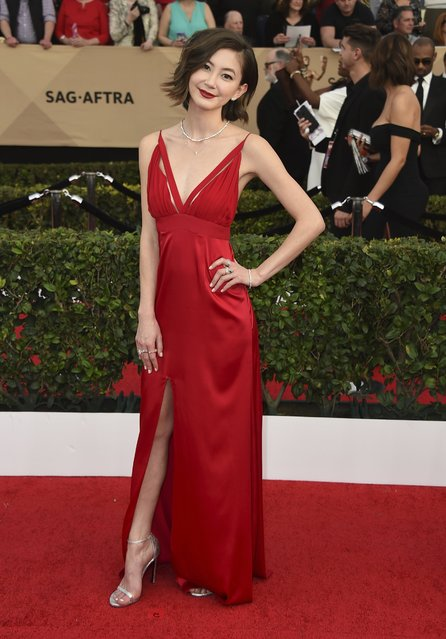 Kimiko Glenn arrives at the 23rd annual Screen Actors Guild Awards at the Shrine Auditorium & Expo Hall on Sunday, January 29, 2017, in Los Angeles. (Photo by Jordan Strauss/Invision/AP Photo)
