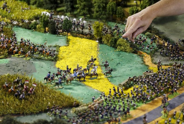 Waterloo enthusiast Willy Smout, 56, points at a figurine representing French Emperor Napoleon (C on white horse) on a 40-square-metre miniature model of the June 18, 1815 Waterloo battlefield, in Diest, Belgium, in this picture taken on April 29, 2015. (Photo by Francois Lenoir/Reuters)