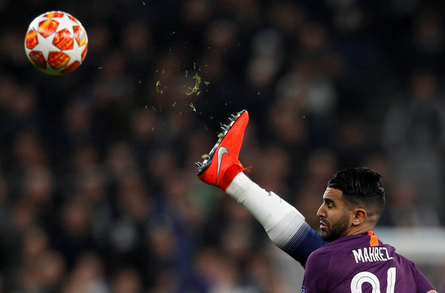 Manchester City's Riyad Mahrez in action during the UEFA Champions League Quarter Final first leg match between Tottenham Hotspur and Manchester City at Tottenham Hotspur Stadium on April 9, 2019 in London, England. (Photo by Peter Nicholls/Reuters)