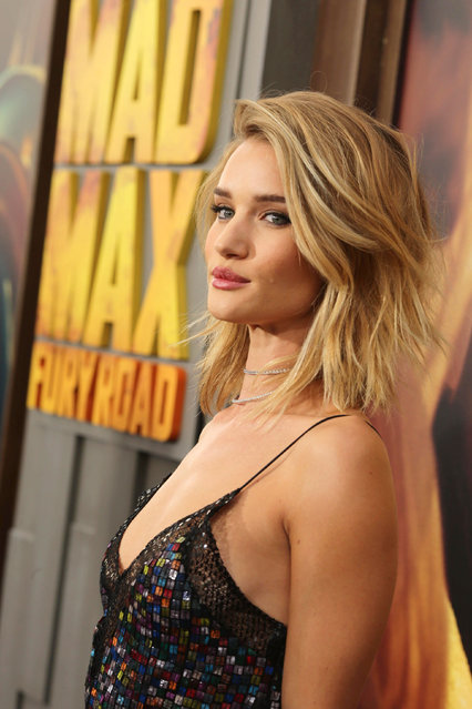 """Rosie Huntington-Whiteley seen at the Warner Bros. premiere of """"Mad Max: Fury Road"""" on Thursday, May 7, 2015, in Los Angeles. (Photo by Eric Charbonneau/Invision for Warner Bros./AP Images)"""