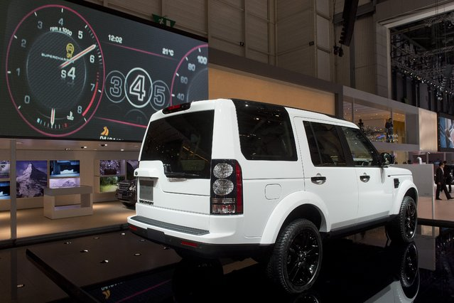 The New Land Rover Discovery XXV iis  on display  at the 84.  Geneva International Motor Show in Geneva, Switzerland, Tuesday, March 4, 2014. (Photo by Sandro Campardo/AP Photo/Keystone)