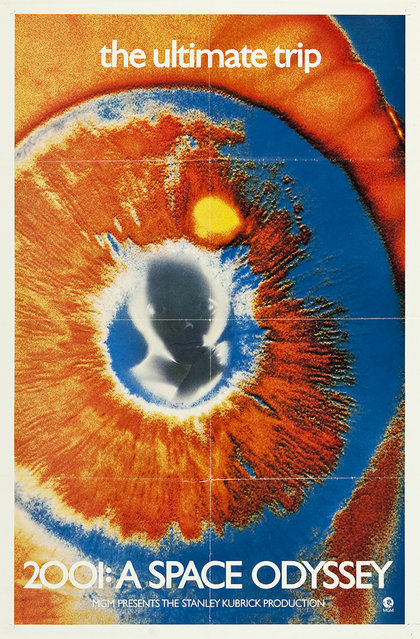 """2001: A Space Odyssey (MGM, 1969). Psychedelic Eye One Sheet (27"""" X 41""""). When MGM decided to revamp the advertising campaign for this Stanley Kubrick blockbuster film in 1969 they chose the tagline """"The Ultimate Trip"""". The """"eye"""" poster, as this poster is most often referred to, was conceived for the 1969, 70mm relaunch in New York while the film was still playing around the country in its original 1968 standard 35mm format. This poster was primarily used for wild posting (i.e. posting on building sites, etc.). (Photo by Courtesy Heritage Auctions)"""