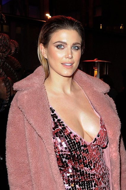 Ashley James leaving Sushi Samba restaurant on February 28, 2017 in London, England. (Photo by FameFlynet)