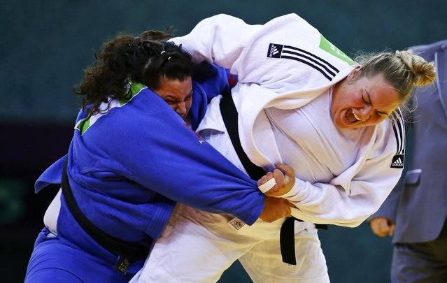 Kaya Belkis (L) of Turkey and Santa Pakenyte of Lithuania fight during their women's judo over 78kg gold medal fight at the 1st European Games in Baku, Azerbaijan, June 27 , 2015. (Photo by Stoyan Nenov/Reuters)