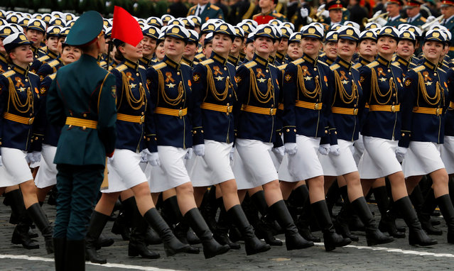 Russian servicewomen march during the 72nd anniversary of the end of World War II on the Red Square in Moscow, Russia on May 9, 2017. (Photo by Sergei Karpukhin/Reuters)