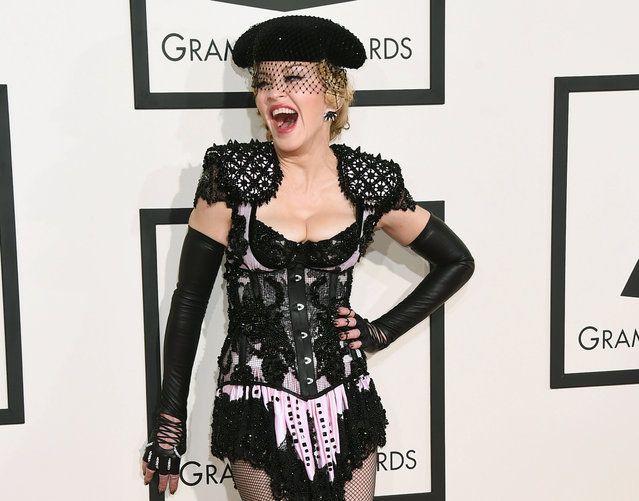 In this February 8, 2015 file photo, Madonna arrives at the 57th annual Grammy Awards in Los Angeles. The pop icon will launch her Rebel Heart Tour this fall, which includes more than 60 shows across North America, Europe, Australia and Asia. (Photo by Jordan Strauss/Invision/AP Photo)